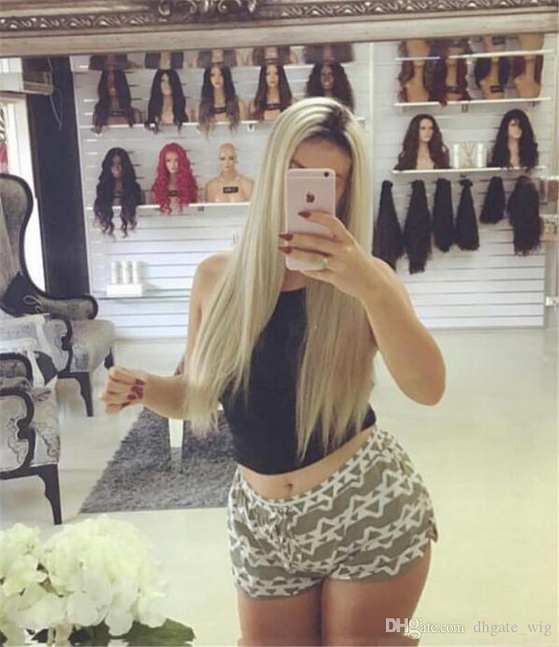 Straigth Full Lace Front Pelucas Cabello humano 130% Densidad Full Lace Wig Glueless 1b # 613 Brasileño U Parte de cabello humano Peluca rubia Roots