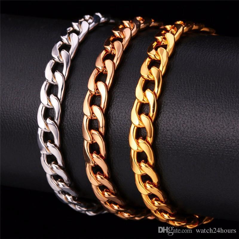 afb0831437e5d6 2019 24K Ywllow Gold Pure Copper Bracelet Men/Women Jewelry Wholesale  Trendy Silver/Gold Color 20CM 6MM 10MM Thick Cuban Link Chain Bracelets  From ...