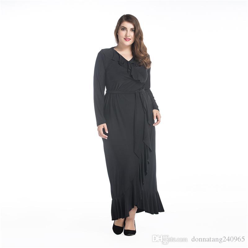 Большой размер платья 8XL Ближний Восток мусульманин с длинным рукавом лотоса листьев трепал платье негабаритных большие свободные жира женщин платья