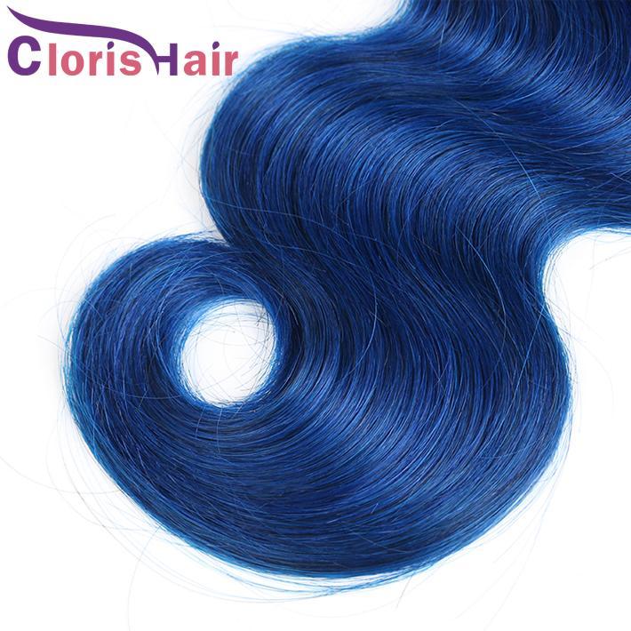 Dark Roots 1B Blue Ombre Weave Húmedo y ondulado Raw Virgin Virgin Human Bundles Body Wave Dos tonos de color Remy Extensiones de cabello