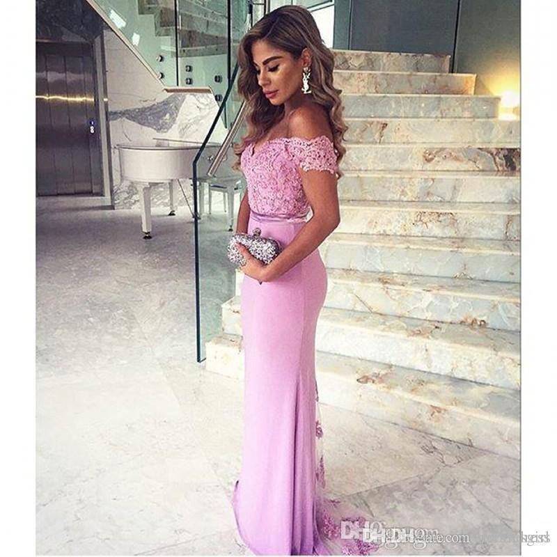 2019 Light Purple Off Shoulder Vestidos de noche Vestidos de fiesta Sirena de encaje Fiesta formal Vestidos de baile con botones Vestidos de dama de honor CPS211