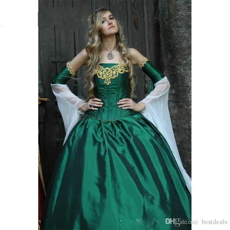 2017 Gothic Wedding Dresses Halloween Victorian Bridal Gowns Long Sleeves Floor Length Corset Back Satin Hunt Green Embroidery
