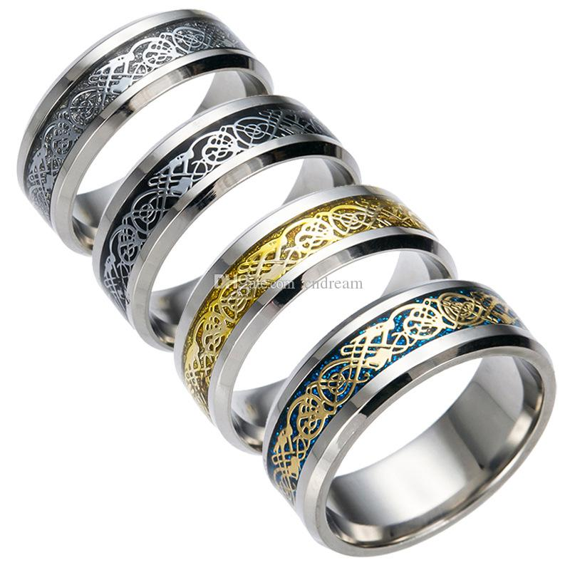 Stainless Steel Silver Gold Dragon Design Finger Ring Chinese
