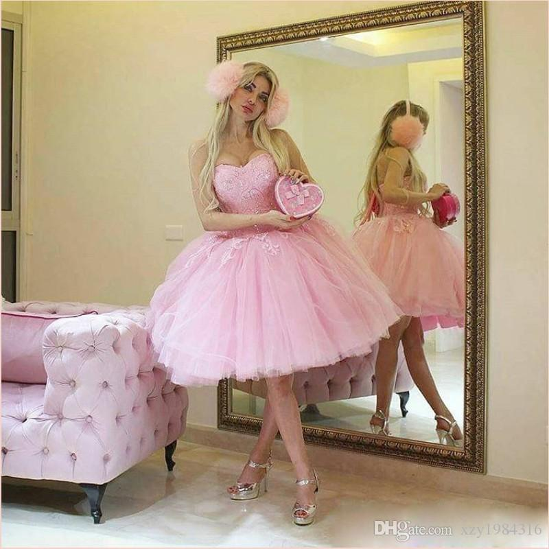 Baby Pink Short Prom Dress Lovely Party Gowns Sexy Sweetheart Sequins Applique Knee Length Evening Dresses Puffy Little Pretty Ball Gowns