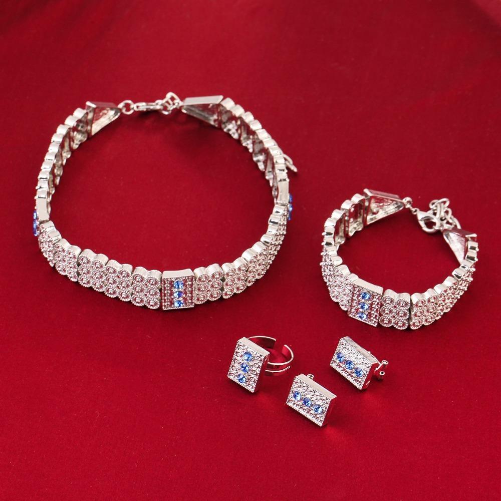 Parlak Gümüş Etiyopya Takı Seti Chokers Kolye Bracele Küpe Yüzük Gümüş Kaplama Habesha Eritrea Mücevherat