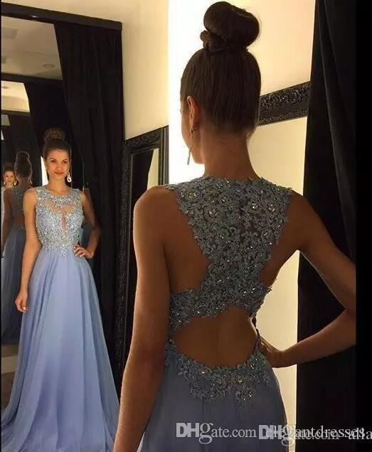 2021 Goedkope Lavender A Line Prom Dresses Kant Applique Kralen Crew Neck Lange Bruidsmeisjes Jurken Chiffon Formele Avond Feestjurken