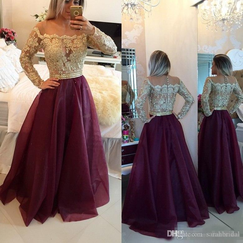 2019 Long Sleeves Burgundy Prom Dresses Bateau Neck Off The Shoulder Appliques Lace Organza Floor Length Evening Gowns Sweet 16 Dresses