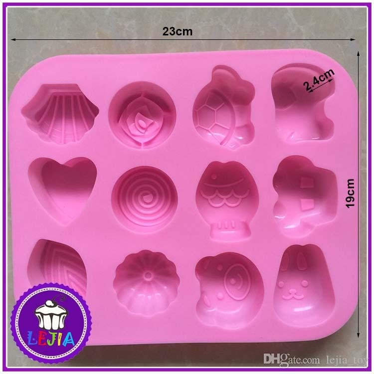 different shape 12 holes Silicone Mold Cake Decoration tools Food Grade cake soap chocolate pudding jelly Moulds baking bakeware