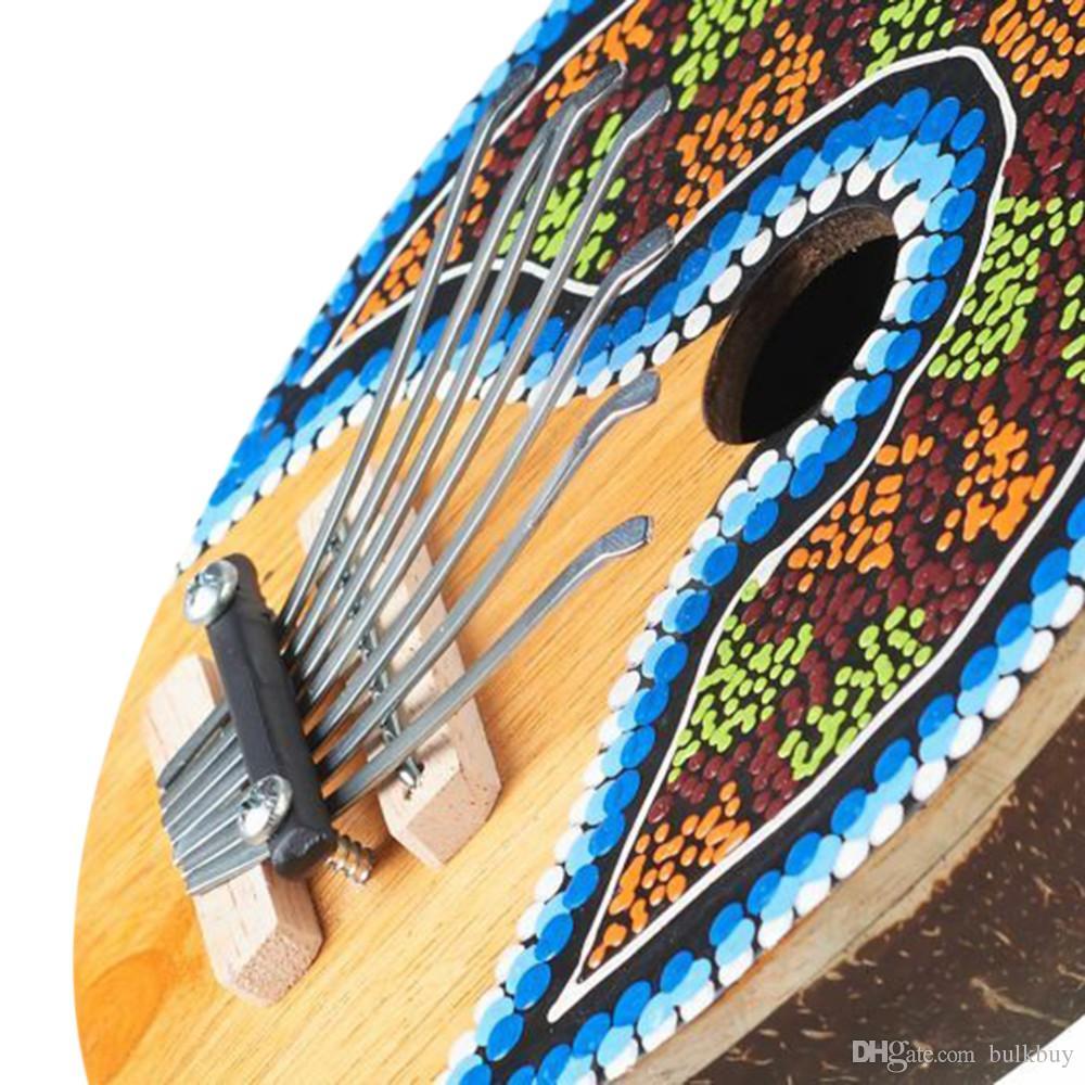 Kalimba الإبهام البيانو 7 مفاتيح الانضباطي جوز الهند شل رسمت صك الموسيقية الانضباطي جوز الهند شل رسمت الموسيقية بالجملة