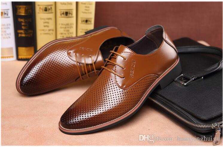 00cf1c834ba3e Summer Latest Groom dress shoes Men s breathable Hollow out PU leather  shoes for men s Hole hole leather sandals Big size 38-44 AXX126