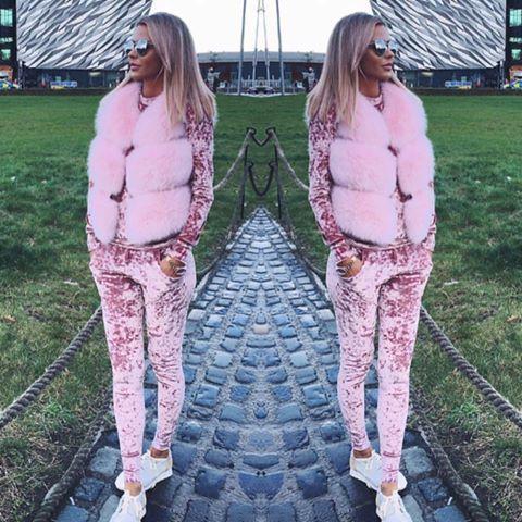 Women's Clothing Winter Tracksuit Fashion Velvet Long Sleeve sports Suits Women Set Warm Sweatshirts + Pants