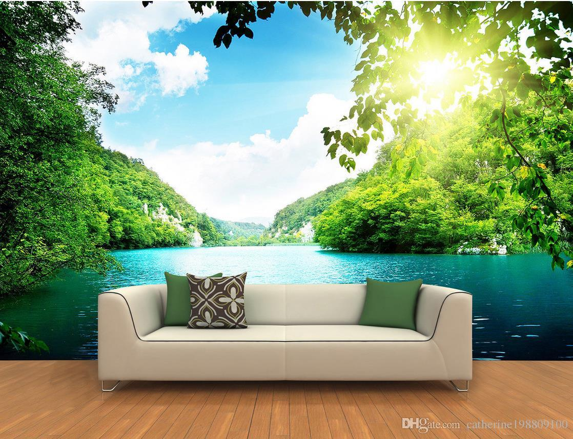 3d tranquil blue lakescape background wall murals mural 3d see larger image