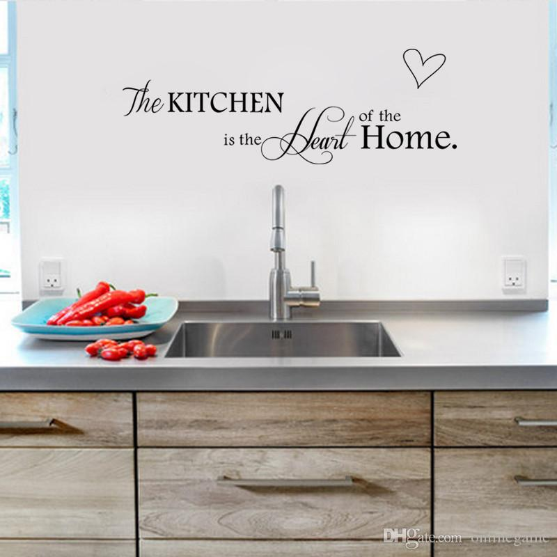 New Kitchen Is Heart Of The Home Letter Pattern Wall Sticker PVC Removable Decor DIY Art MURAL Vinyl Decorations Graphic From