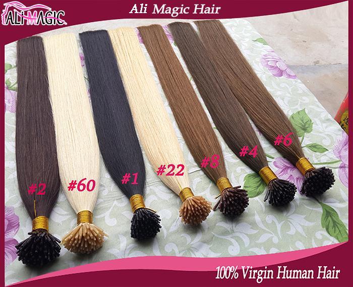 أنا غيض الشعر البشري مستقيم الكيراتين يميل الشعر امتدادات الشعر الانصهار لون الشعر بالجملة علي ماجيك مصنع المخرج 100g 100strands