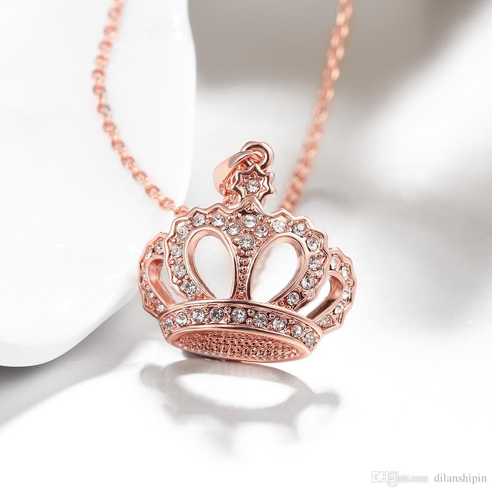 Mode-Halskette für Frauen-Mädchen-Kristallrhinestone-Kronen-Charme-Halsketten-Anhänger 18k Rose Gold / Platin überzogene Großhandelsschmucksachen Geschenk