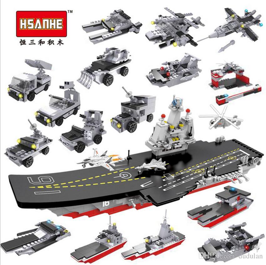 8pcs/lot Hsanhe military naval ship series warship model building blocks 8  in 1 Set Bricks DIY 2 changes Educational ship Toy