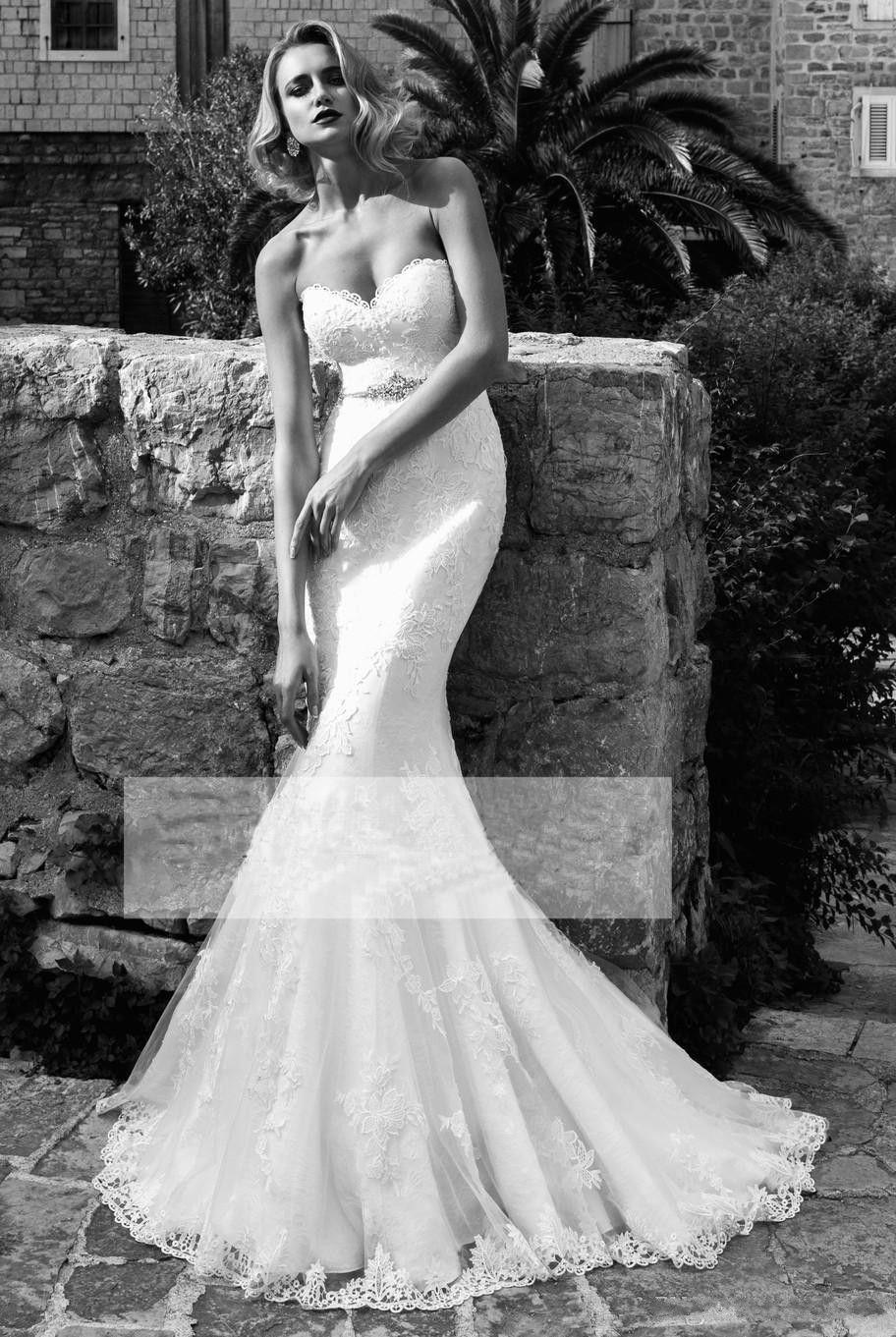 2018 sexy encaje de la sirena vestidos de novia apliques sin tirantes con cuentas cinturón de cristal sexy corsé más el tamaño vestidos de novia modestos vestidos de la novia ba7406