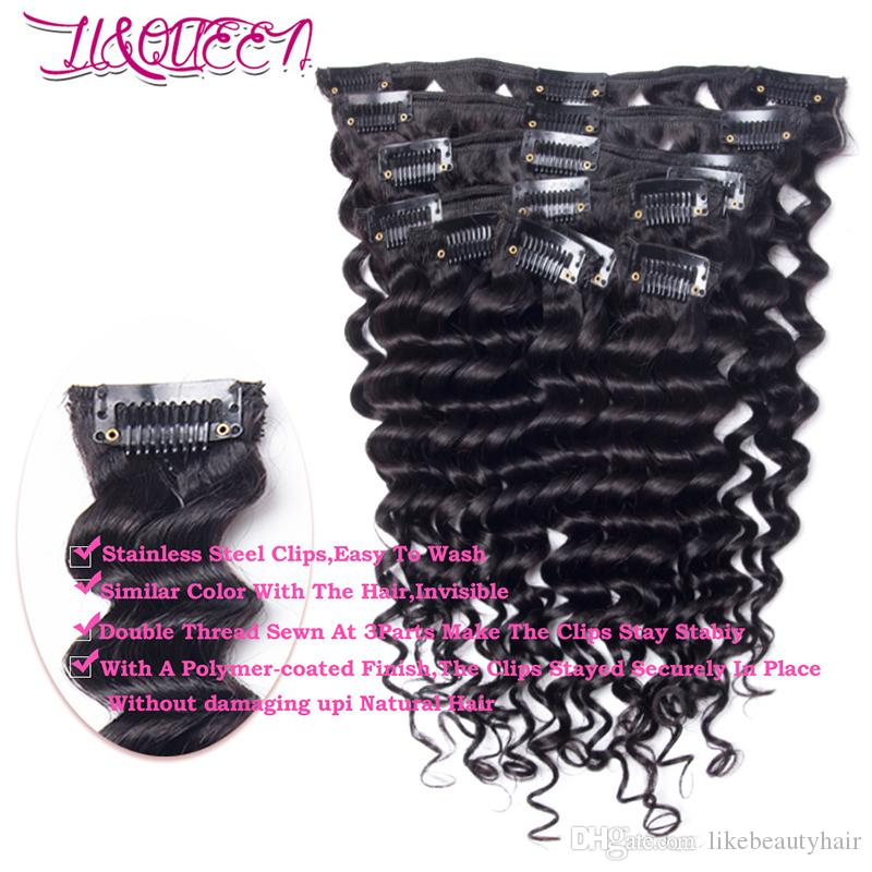 Brazilian Virgin Human Hair Deep Wave Curly 140g Clip In Hair Extensions 10-28inch Deep Wave Clips 140g Full Head Natural Color