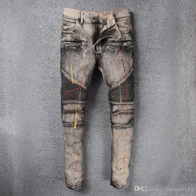 bb81a01178 2018 New True Elastic jeans Mens Robin Rock Revival Jeans Crystal Studs  Denim Pants Designer Trousers Men's Biker Jeans size 28-42