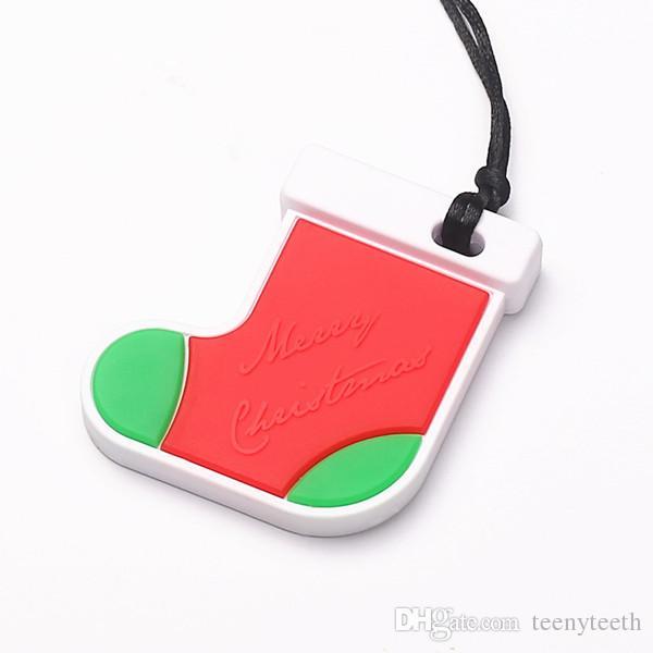 10 Unids NUEVA Calcetín de Navidad de Silicona Mordedor Beads Bebé DIY Collar Mordedores Colgante Accesores Del Bebé 60 * 55 * 11mm BPA Safe Nurs