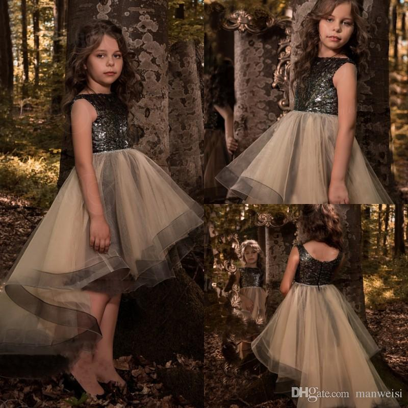 Little Black High Low Flower Girls Dresses For Weddings Sequins Appliqued 2018 New Kids First Communion Dress Custom Made Pageant Gowns