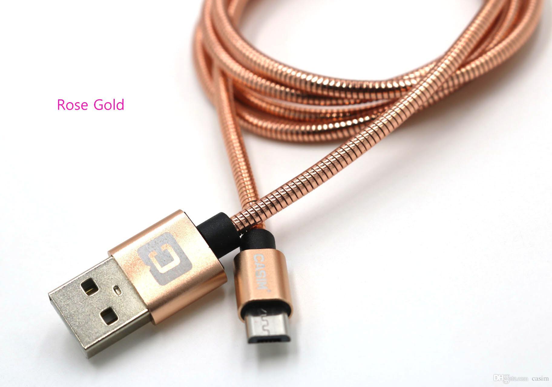 Mikro USB Kablosu Kordon Lüks Metal Bahar Şarj Veri Hattı CASIM Orijinal Samsung S7 s6 LG Huawei Android için Şarj Tipi C Kordonlar