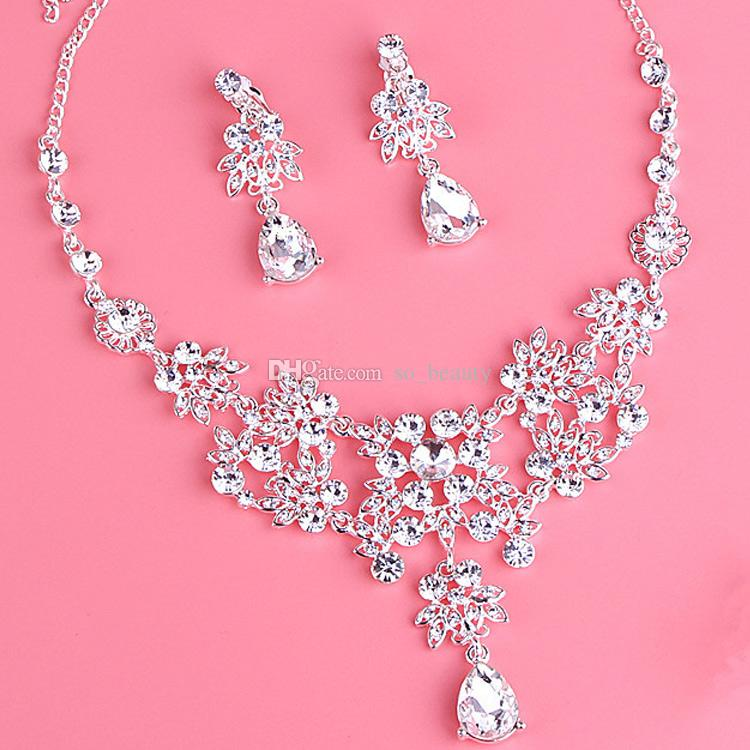 Twinkling Baroque Bridal Crown Necklace Earrings Set Tiaras Floral Bridal Jewelry Accessories Wedding Party Sets S006