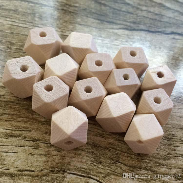 10 12mm Wood Geometric Beads Natural Unfinished Wood Beads for Jewelry Making DIY Accessories Wooden Necklace Beads Wholesale