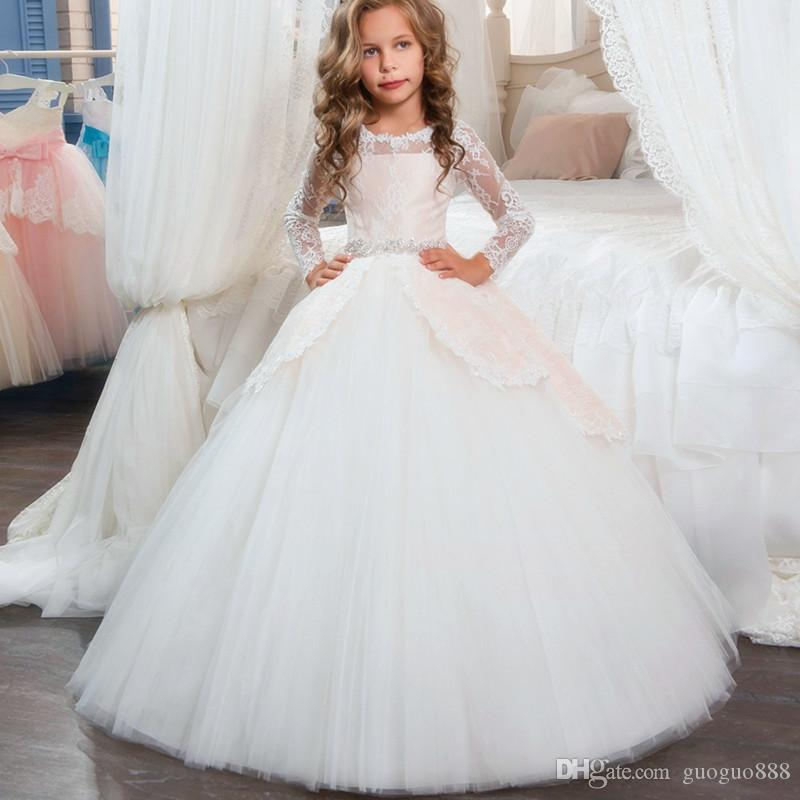 2017 Cupcake Little Kids Pageant Gowns for Girls Long Sleeves Lace Appliques With Bow Sashes Wedding Birthday First Flower Girl Dresses