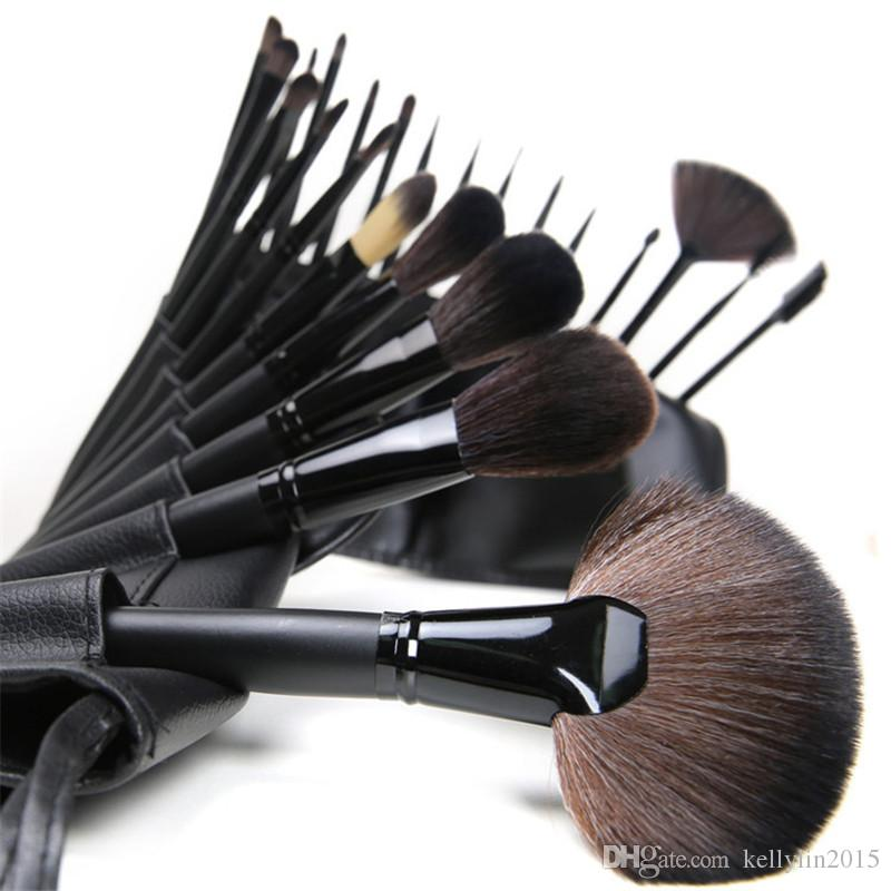 Wooden Handle Makeup brushes sets Pink Black Foundation Face Powder Blush brush Facial Cosmetics Make up Brushes with Cases