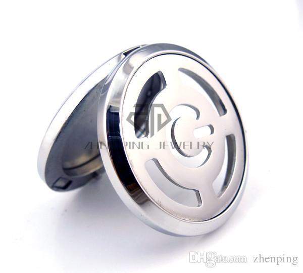 Cadena como regalos! Botón entonado negro redondo de la potencia 20-30m m Aromatherapy / medallón pendiente del difusor del perfume del acero inoxidable