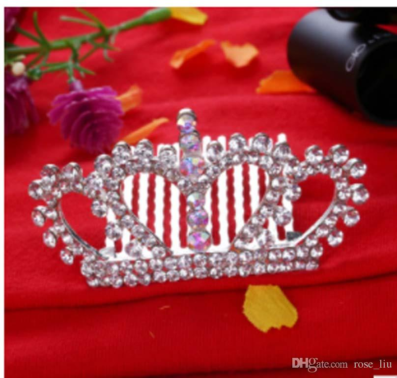 KIDS Crown Princess combs Mini Twinkle Rhinestone Diamante Bridal Princess Crown Hair Comb Hair Clip Tuck Tiara Party Wedding XT