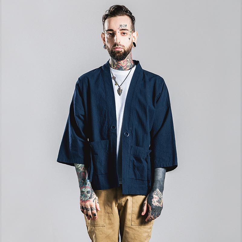 Acheter Japon Hong Kong Style Marque De Mode Kimono Homme 3/4 Manches  Chemise Coton Cardigan Large Manches Lâche T Shirt Occasionnel De $29.05 Du  Rong4919