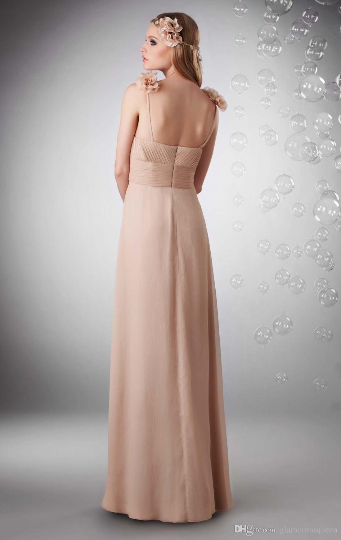 2017 Novo Design A Linha Querida Até O Chão Champagne Cor Chiffon Dama de Honra Vestidos Com Flores Correias Ruched Dama de Honra Vestidos