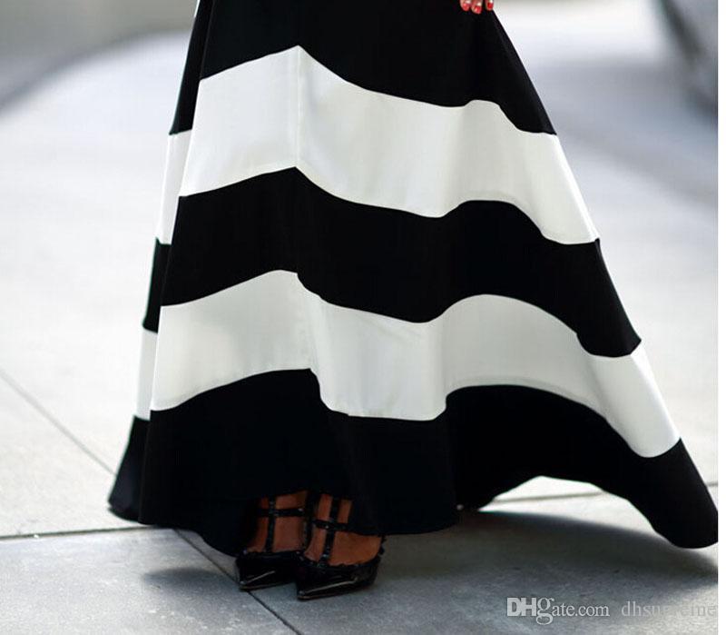 El último vestido maxi a rayas de blanco y negro sin espalda vestido Vestidos de verano Vestidos formales Noche Mujeres Rayas Vestido largo de noche Maxi
