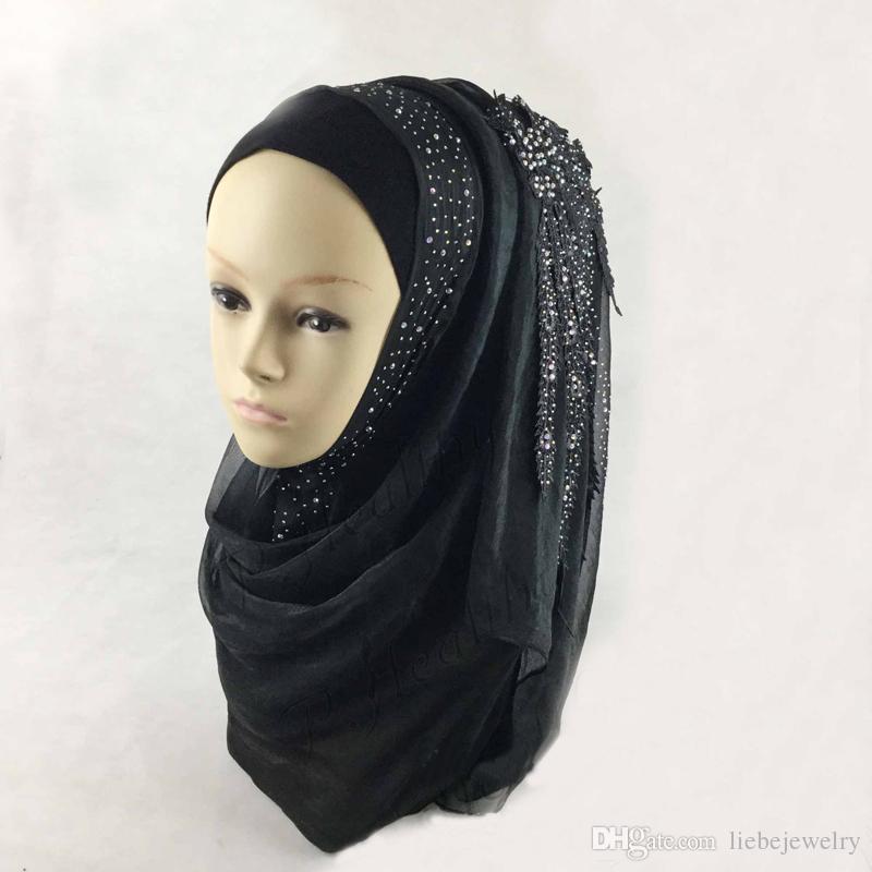 Plain Viscose Hijab High Quality jersey hijabs Caps Silk Muslim Beautiful Wedding Gift With Diamond Flower-shaped Lace Scarf