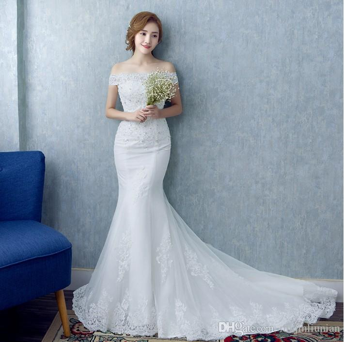 2016 New Korean Word Bride Shoulder Waist Fishtail Wedding Dress ...