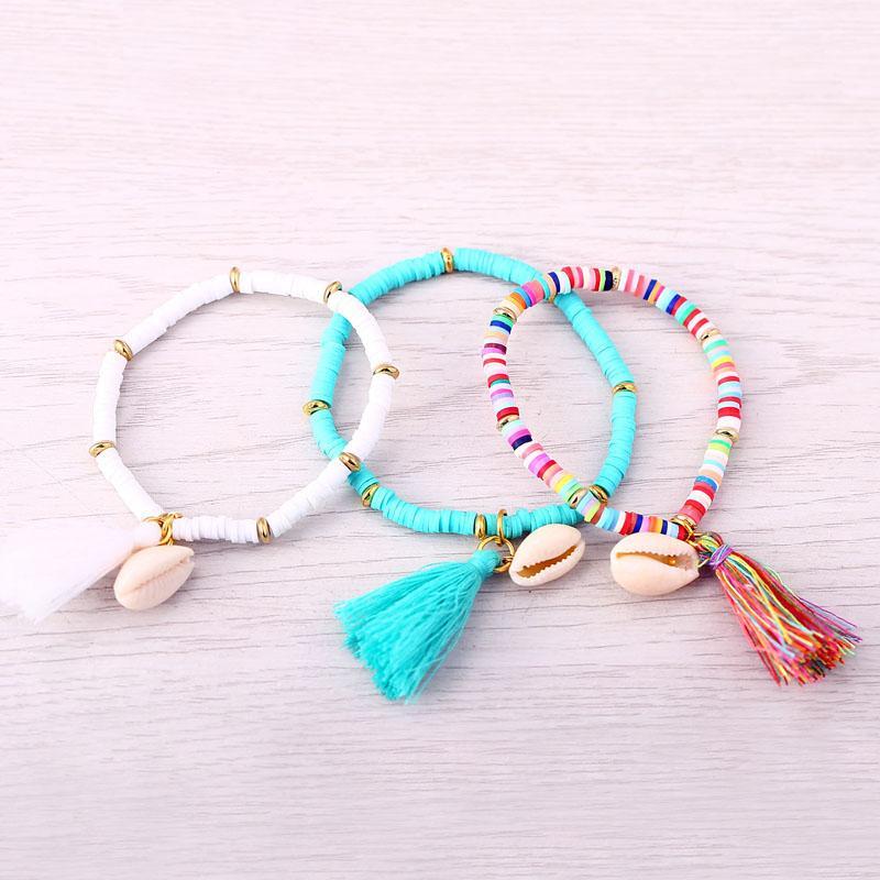 d5c4db05157e57 Wholesale-JM Polymer Clay CCB Elastic Charm Bracelet for Women Men ...