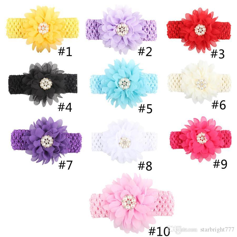 Baby Headbands Chiffon Flowers Headband for Girls Toddler Boutique Elastic Hair Bands Childrens Pearl Rhinestones Hair Accessories