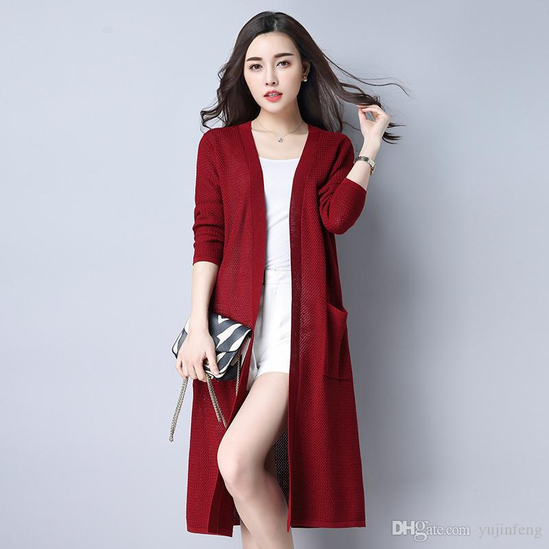 2018 2017 Ulzzang Girl Casual Long Knitted Cardigan Autumn Korean ...