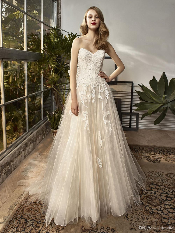 Großhandel Romantische Champagne Ballkleid Brautkleider Soft Tüll ...