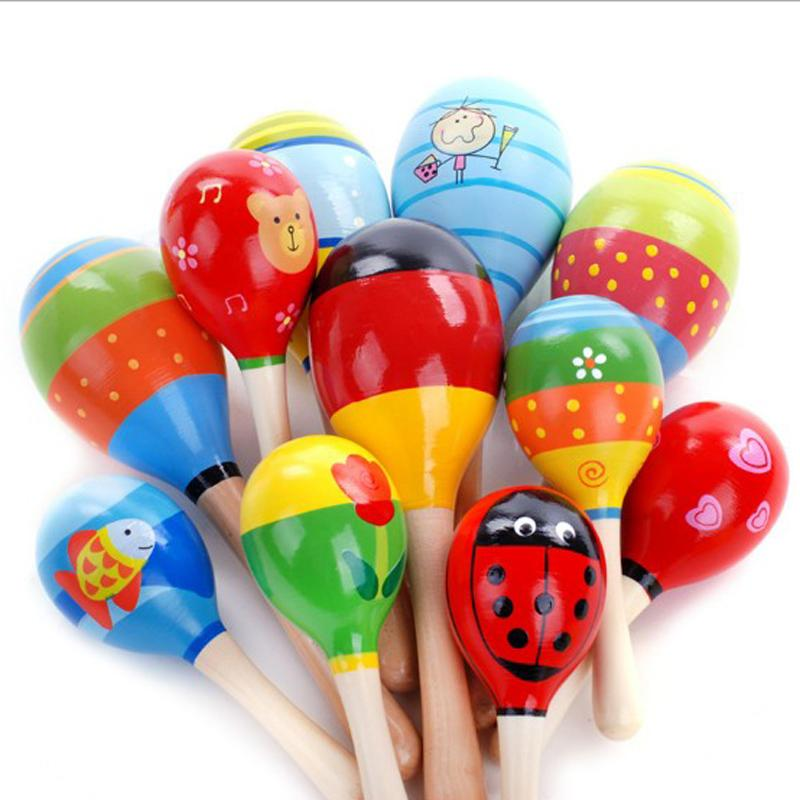 Colorful Wooden Maraca Rattles Kids Musical Party Child Baby Beach Shaker Toys Infant Baby Colorful Sand Hammer Toys