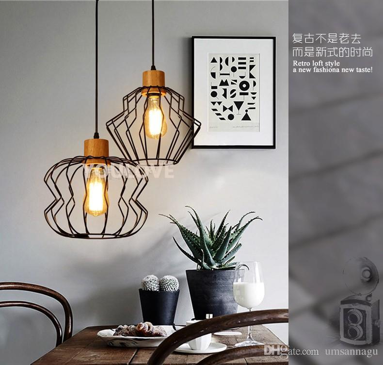 Lampes suspendues modernes en métal noir en bois unique Droplight pendentif américain luminaire luminaire maison éclairage intérieur salle à manger restaurant lampe suspendue
