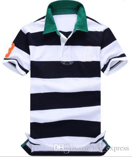 Top Express 2017 Summer Fashion New Men Striped Polo Shirt Lapel Cotton Casual Shirts Short-sleeved Male Polos With Big horse