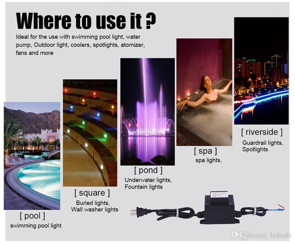 12 فولت الصمام سائق امدادات الطاقة محول للماء ip67 للسباحة ضوء بركة أضواء مصباح نافورة الإضاءة 120 فولت 220 فولت إلى ac 12 فولت 60 واط