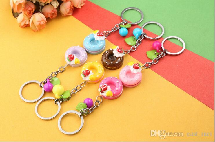 Best gift Metal key ring new colorful circle cake key ring cute key ring girls small gifts KR111 Keychains a