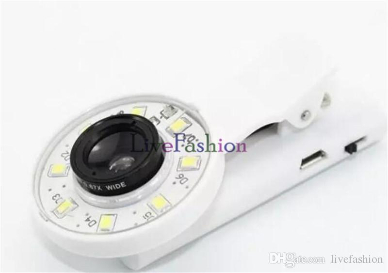 Mini Selfie Filter LED Flash Fill Light Camera Micro-lens Enhancing Clip External Spotlight Wide Angle Fish Eyes Lens for iPhone Samsung HTC