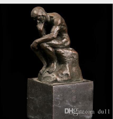 Arts Artisanat Cuivre ATLIE BRONZES Célèbre Statue En Bronze Reproduction Rodin Masterpiece Thinker Statue Socle En Marbre