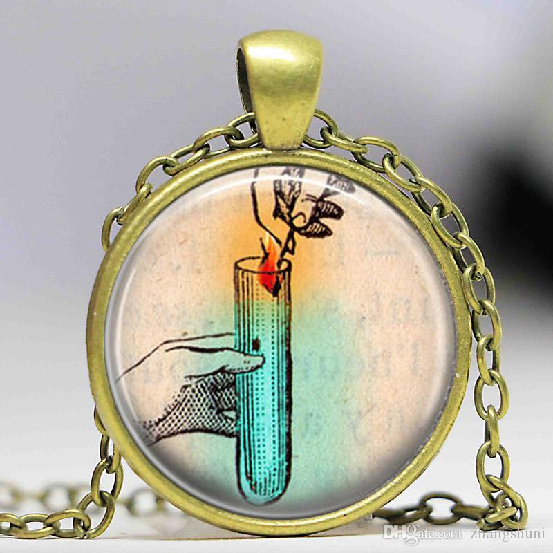 intage Charm Chemistry Pendant Necklace Chemistry Jewelry Sceince Math Nerd Phisics