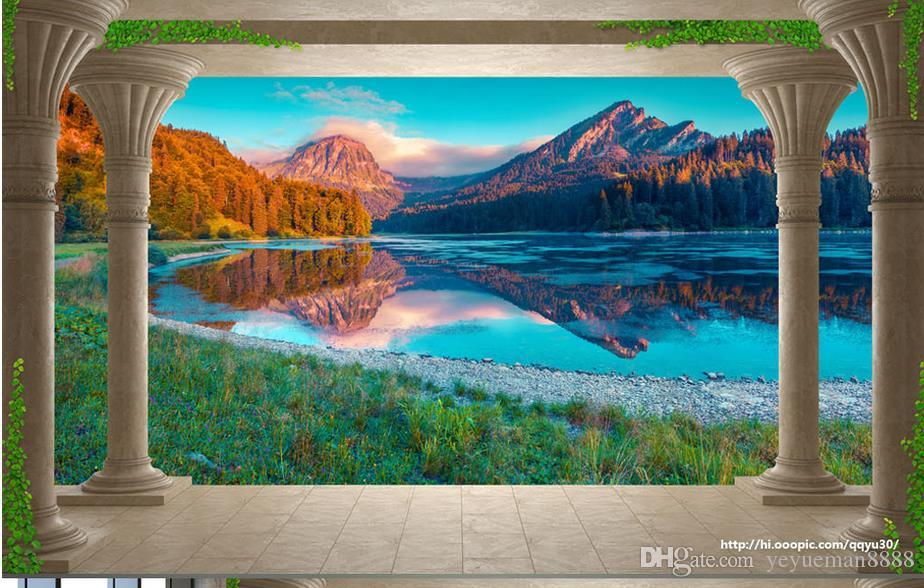 Custom 3d Mural Wallpapers Hd Landscape Mountains Lake: Custom Wallpaper For Walls 3 D Roman Column Mountain Lake
